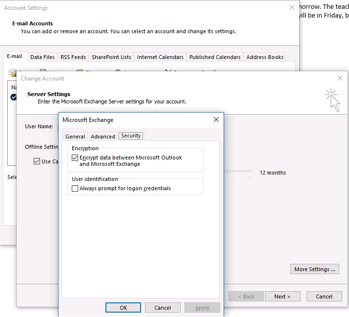 Outlook Encryption Settings