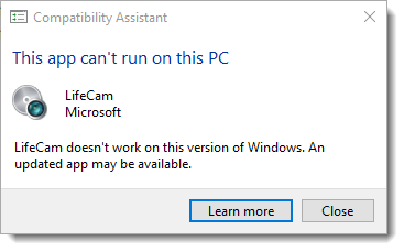 LifeCam Installation Error - Windows 10