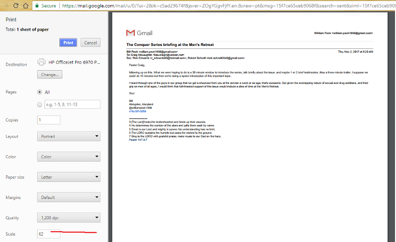 Gmail prints ok