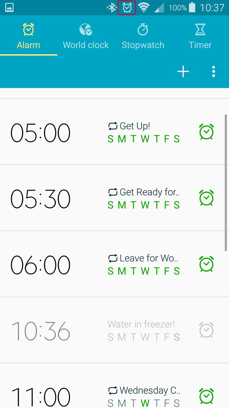 Stock 'Clock' App's Alarm tab