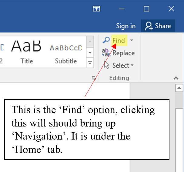 Bringing up Navigation Pane from 'Home' Tab.
