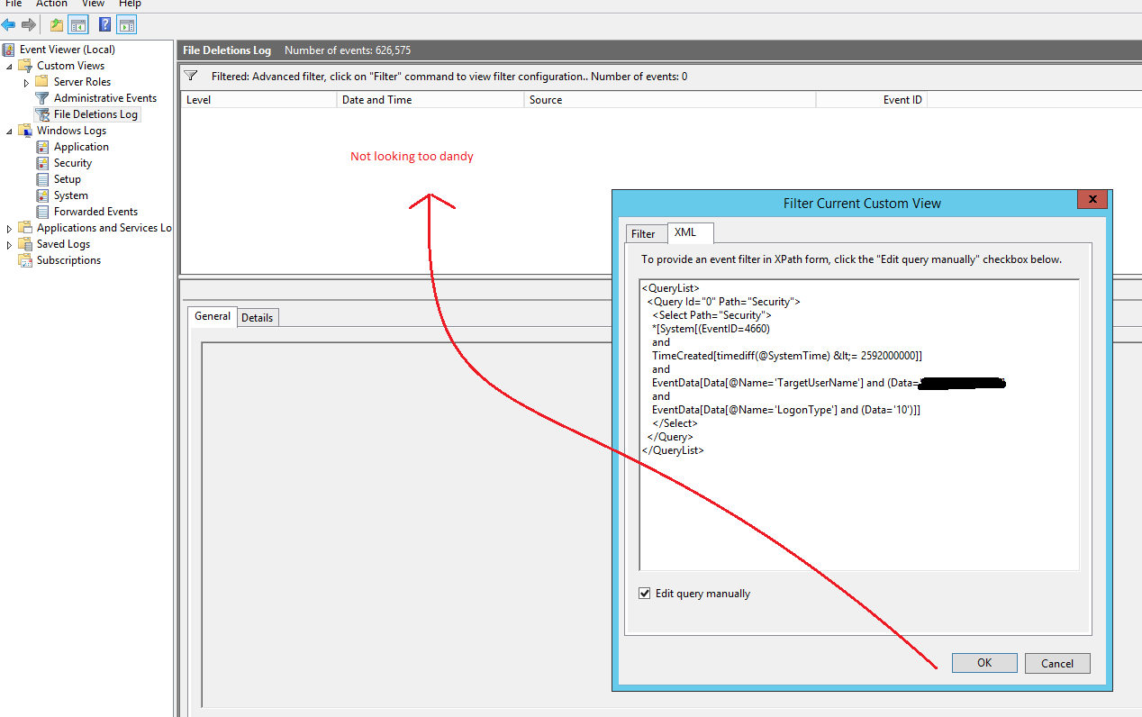 How to modify Server 2012 Event log in Xpath form