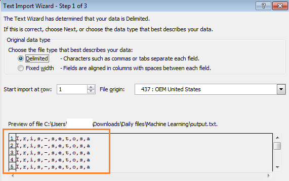 Importing screen from Excel