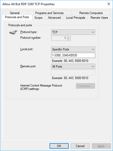 TCP allow all but 3389