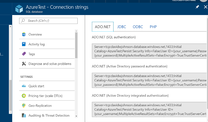 test azure connnection strings
