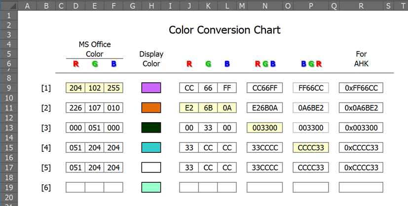 Auto-fill a cell's color based on numeric RGB values and vice versa