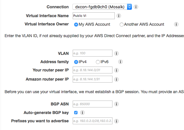 How do you create a virtual interface with AWS Direct Connect?