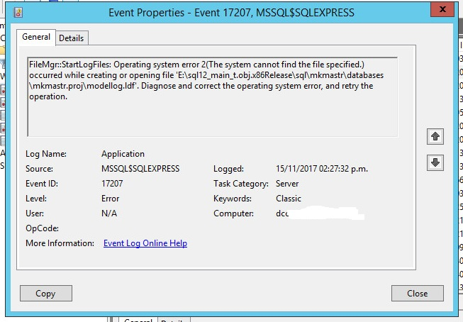 sqlserver express event viewer1