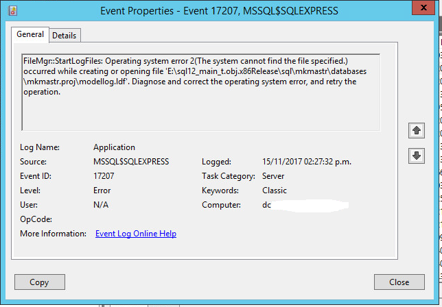 sql server express event viewer1