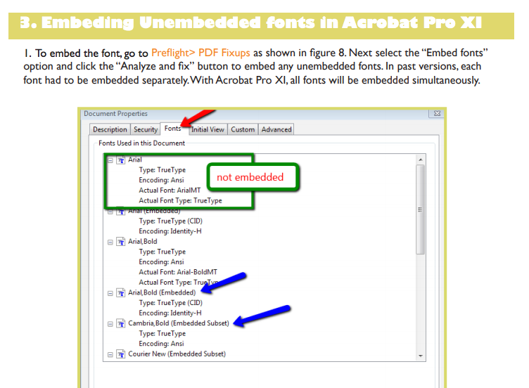 Adobe Acrobat Pro DC: Trouble embedding Fonts into a PDF