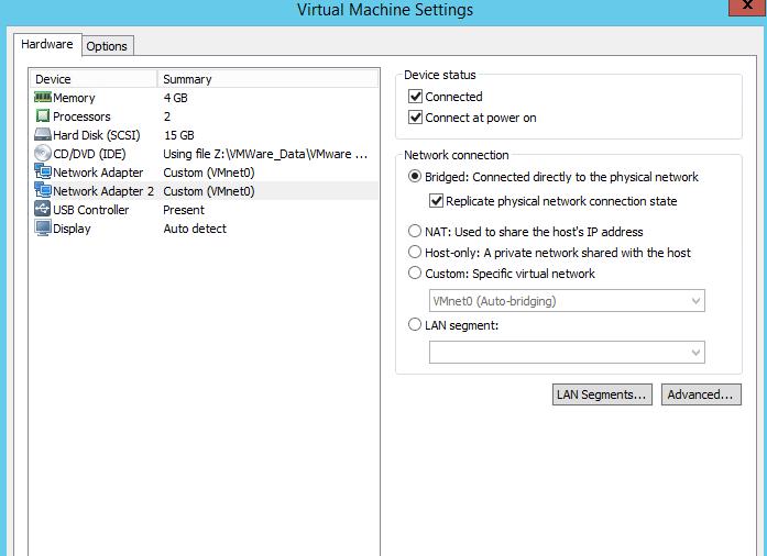 vmware work station network editor problem