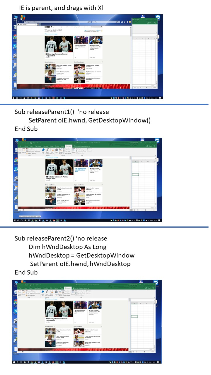 Top panel shows IE as child of xl parent, next panel: after releaseParent1(), bottom panel: after releaseParent2()