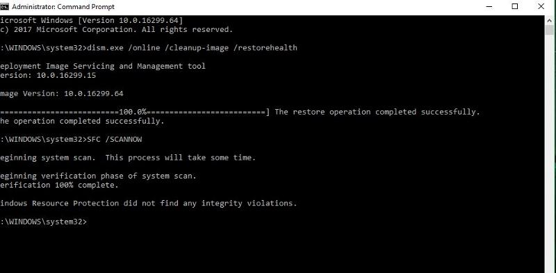 Fixes tried in command prompt