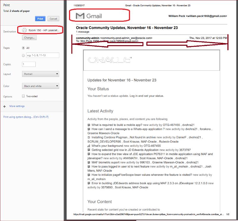 Gmail prints fine (work)