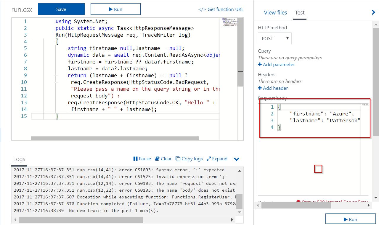 C Sharp Script Deployed In Azure Not Working