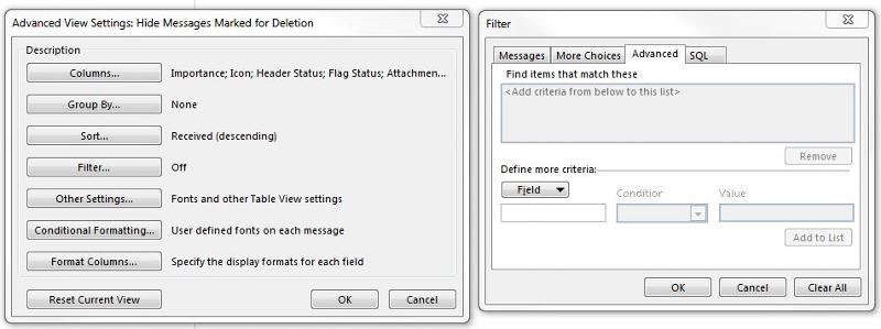 Outlook filters settings