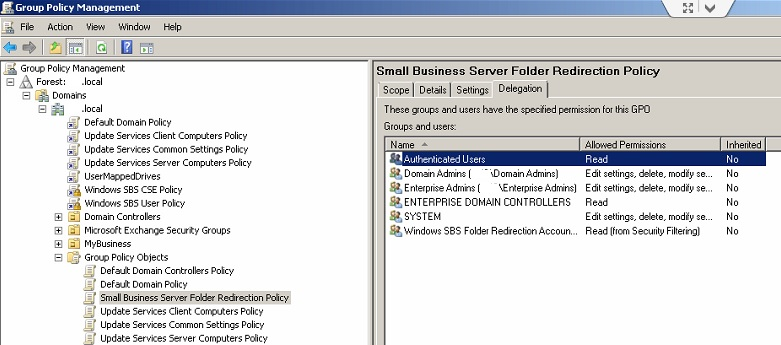 Deligation - Redirected Folders Policy