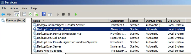 Backup Exec Related Services