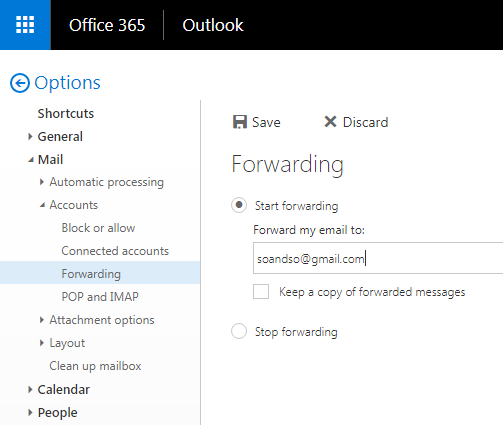 Mail forwarding screenshot from O365