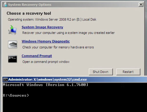Command Prompt Selected as Recovery Tool