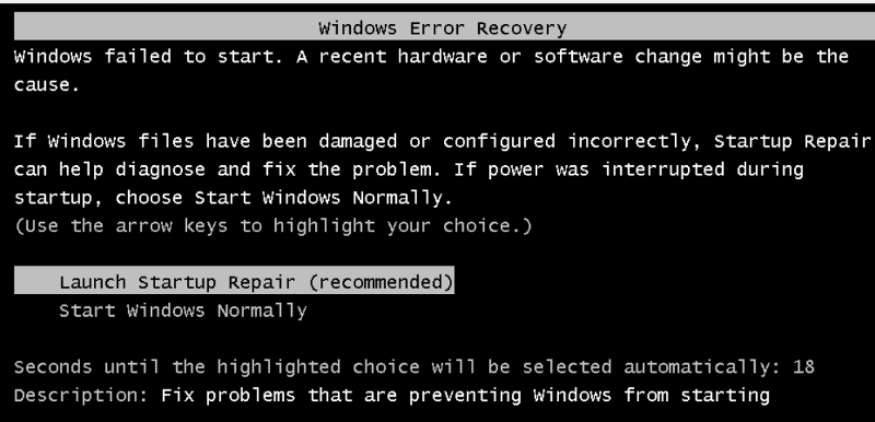 Windows Error Recovery Screen at Boot