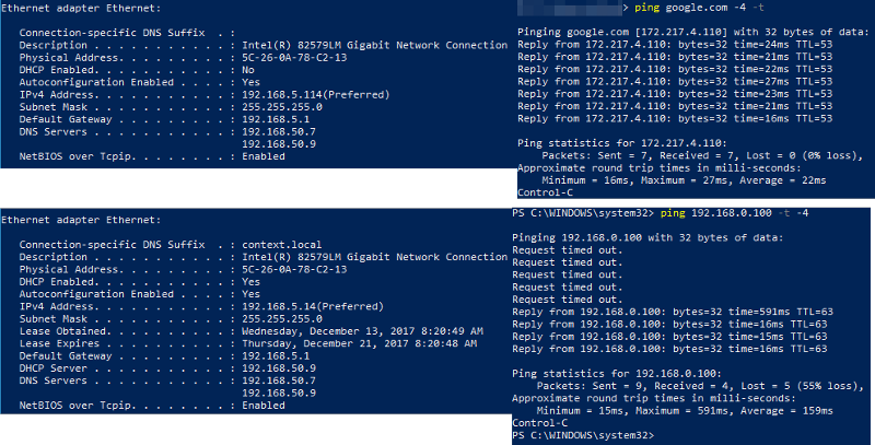 This image shows the actual IPs and subnets, DNS servers, and DHCP server. Also, to the right of the IPCONFIG output is the associated PING test.