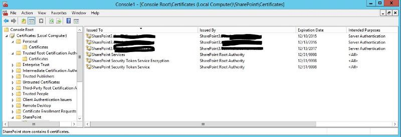 Sharepoint certs