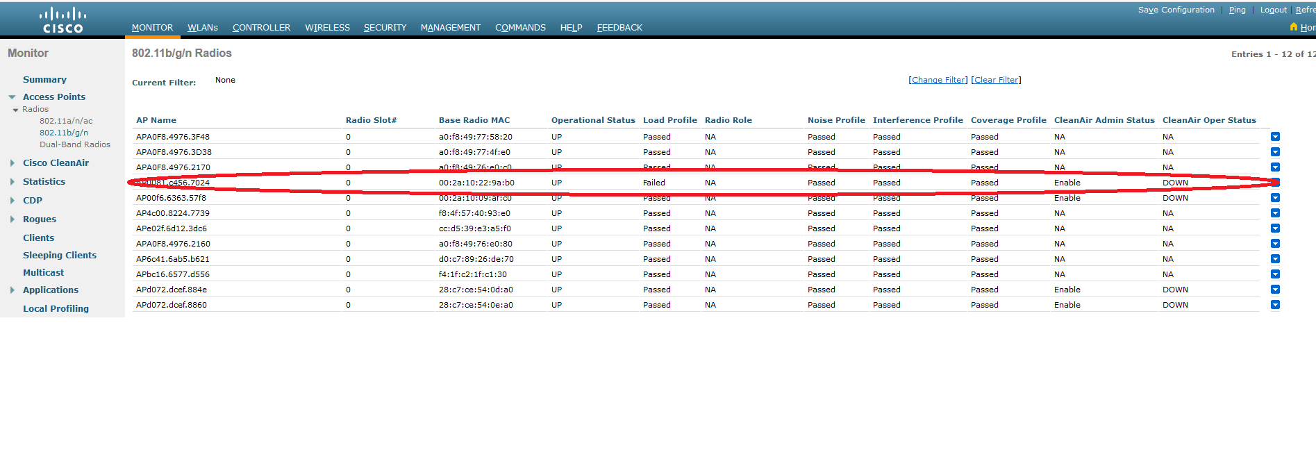 Cisco WLC load profile failed?