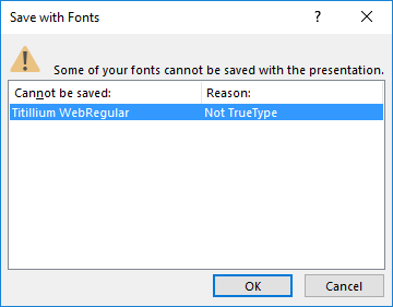 PowerPoint cannot save fonts dialog
