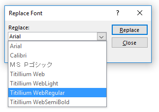 PowerPoint Replace Fonts dialog
