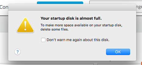 Mac Startup Disk is Almost Full
