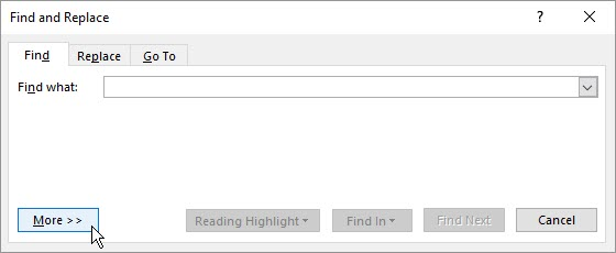 Word Find Style step 1 -- open dialog box and click More
