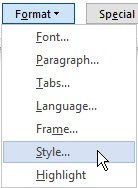 Word Find Style step 2 - specify you want o find a Style