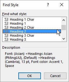 Word Find Style step 3 -- choose style name
