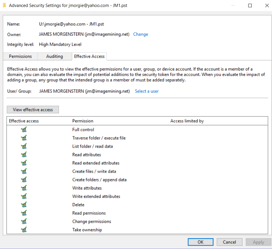Outlook Fails to Open  pst -- issue with permissions or read