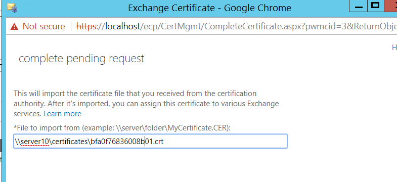 This is the path to the certificate, but I keep getting an error message