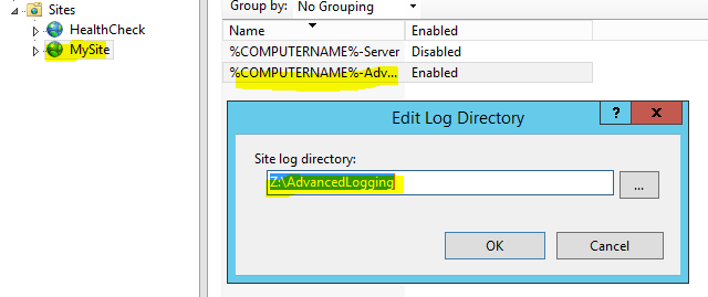How can I change the directory for IIS Advanced Log using powershell