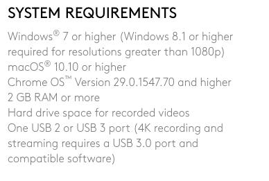 brio logitech specifications