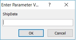 dialog box appears asking me to enter a value for parameter ShipDate: