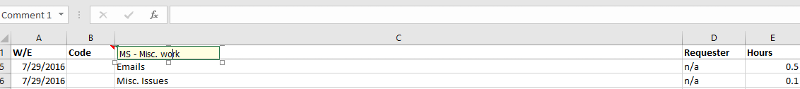Issue with Excel Comment
