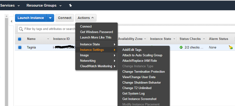AWS instance options