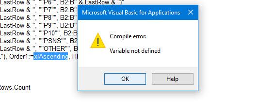 Access excel sorting error