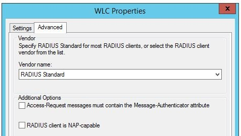 Radius client advanced settings
