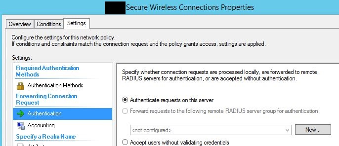 Remote Connection Policy forwarding authentication
