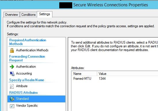 Remote Connection Policy radius attribute