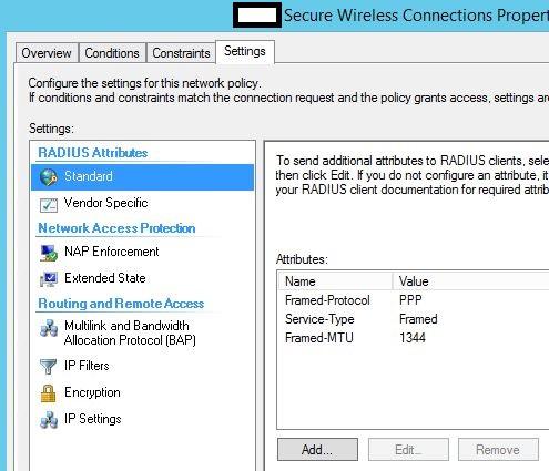 Network policy>settings>radius standard settings