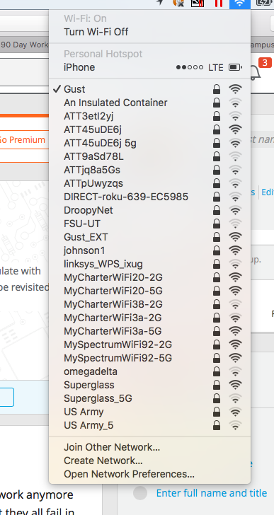 screenshot of available wireless networks