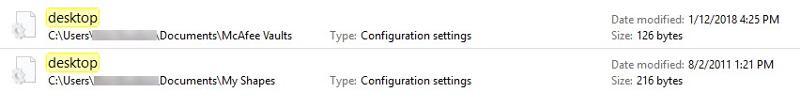 Two desktop INI which one do I delete?
