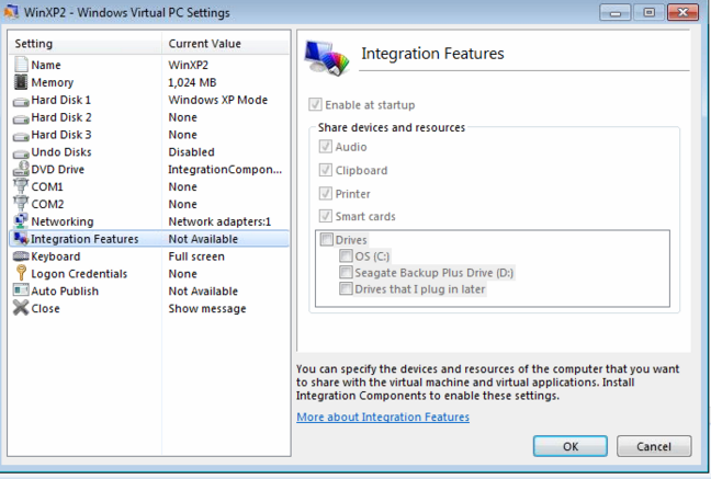WinXP Mode Integration Features
