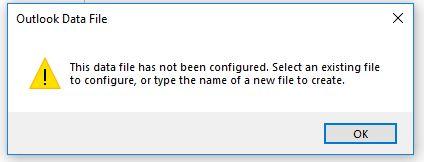 Outlook Data File has not been configured